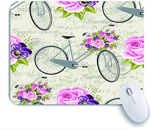 NOLOVVHA Gaming Mouse Pad Rutschfeste Gummibasis,Blumen mit rosa Rosen und Fahrrad auf Weinlese-Postkarte,für Computer Laptop Office Desk,240 x 200mm