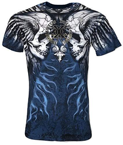 Xtreme Couture by Affliction Men T-Shirt Silent Scream Cross Biker MMA Gym $40 (4XL) Blue