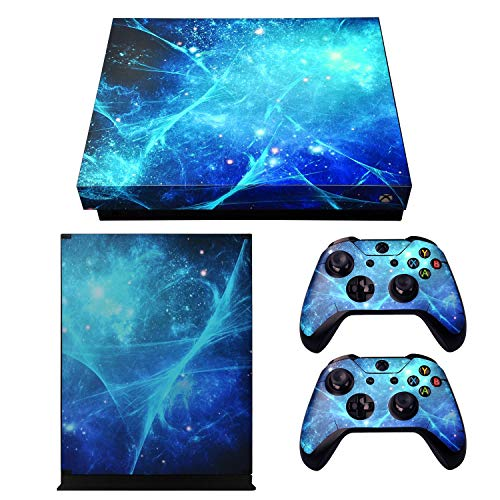 eXtremeRate Blue Galaxy Full Set Faceplates Skin Stickers for Xbox One X Console Controller with 2 Pcs Home Button Decals
