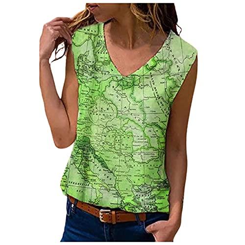 Bilbull Camiseta de manga corta para mujer, informal, con cuello en O, para verano, básica, con cuello en V, holgada, con estampado gráfico verde XXXL