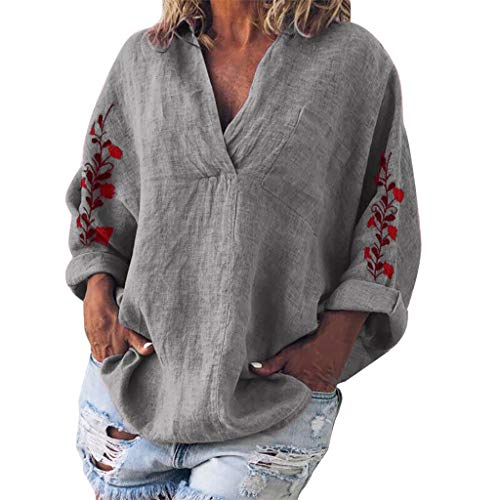 Find Discount Women's Long Sleeve V Neck Embroidery Casual Loose Knitted Pullover Blouse Tops