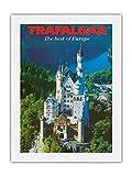 Trafalgar Tours - Póster vintage de viaje c.1970 (61 x 81 cm), diseño de castillo de Neuschwanstein de Baviera, Alemania