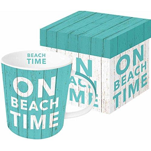 Paperproducts Design Decorative Bone China Mug Gift Box Set - Beverages, Hot, Cold Drinks, Tea – Artistic Designs, Decorated Mugs – 13.5 Ounces, Paula Scaletta Beach Time Design