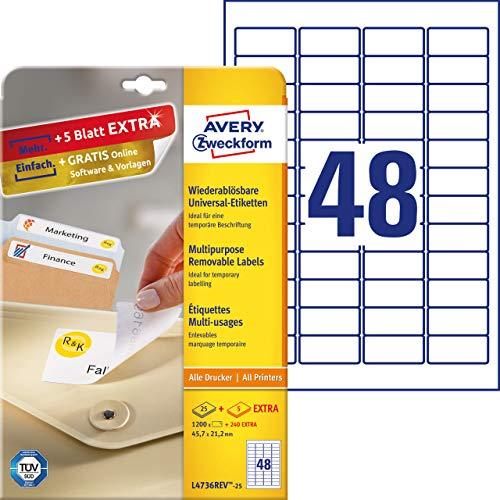 AVERY Zweckform L4736REV-25 Universal Etiketten (1.200 plus 240 Klebeetiketten extra, 45,7x21,2mm auf A4, wieder rückstandsfrei ablösbar/abziehbar, bedruckbar, selbstklebende Aufkleber) 30 Blatt, weiß