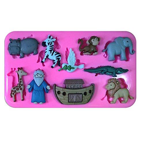 Tier Elefant Flußpferd Löwe Affe Arche Noahs SilikonForm für Kuchen Dekorieren, Kuchen, kleiner Kuchen Toppers, Zuckerglasur, Fondantform, Sugarcraft Werkzeug durch Fairie Blessings