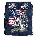YOUYO Spark Juego de cama de tres lobos americos bandera popular hermoso -...