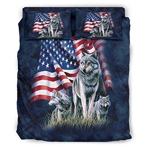 Viiry 4 Piece Bed Set American Flag Wolf Popular Warm Theme - Bed covers white 240x264cm
