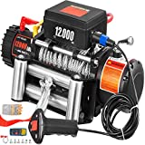 VEVOR Truck Winch 12000Ibs Electric Winch 85ft/26m Steel Cable 12V Power Winch Jeep Winch with Wireless Remote Control and Powerful Motor for UTV ATV & Jeep Truck and Wrangler Accessories in Car Lift