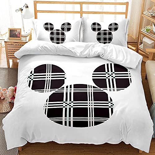 CCBZLY Mickey Mouse, ropa de cama de dibujos animados Minnie Mouse, funda de edredón (con funda de almohada), impresión digital 3D, microfibra (M7,220 x 260 cm + 2 x 50 x 75 cm)