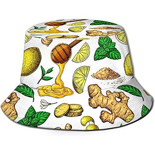 William Bacon Honig Ingwer Zitrone und Minze Unisex Eimer Hut Wende Fischerhut Pflanze gedruckt einfarbig Outdoor Sonnenhut verpackbar