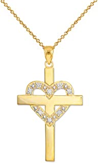 Solid 14k Yellow Gold Diamond-Studded Heart Cross Pendant Necklace