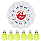 ZZICEN Nylon Badminton Birdie Shuttlecocks Pack of 24, Stable and Sturdy High Speed Badminton Birdies, Training Badminton Shuttlecock for Indoor and Outdoor Sports