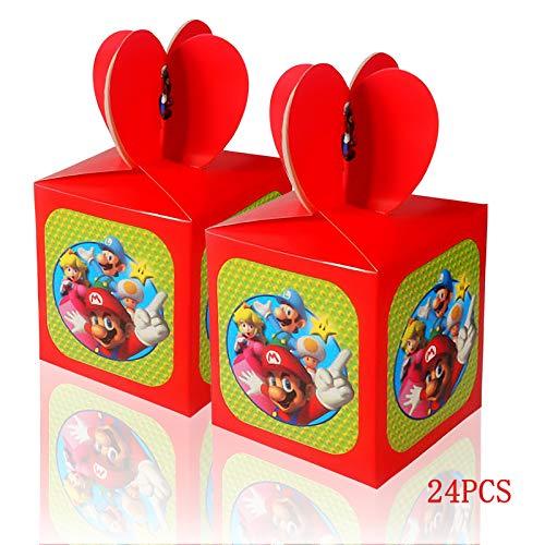 Yisscen 24 cajas de caramelos de Navidad, Super Mario, para fiestas de cumpleaños infantiles, bolsas de regalo para invitados, para Navidad, fiestas de cumpleaños, baby showers