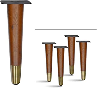 4 pcs Set Straight Wood Furniture Legs, Sofa Legs, Bench Legs, Table Legs with Metal Footings (8