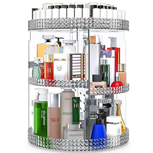 Awenia 360° drehbar Make up aufbewahrung Kosmetik Organizer aus Acryl 7 Verstellbare Ebenen Multifunktionale Schminkaufbewahrung Box Passend für Dresser, Schlafzimmer, Badezimmer (Grau)