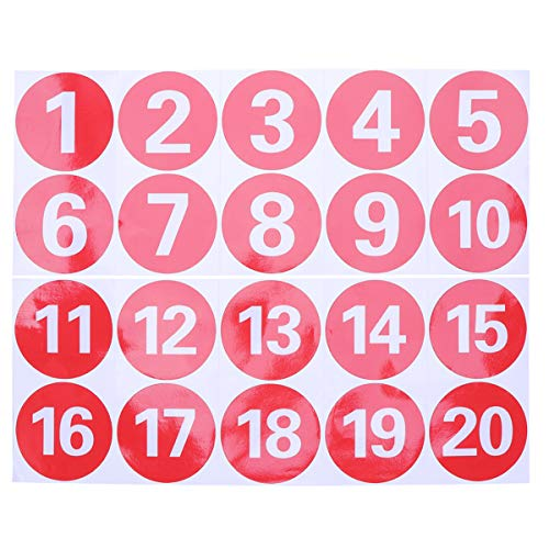 STOBOK Adesivi numerici rotondi in PVC Adesivi adesivi digitali rossi grandi 1-20 adesivi per allineamento di numeri antistatici - 3,7 pollici / 9,5 cm