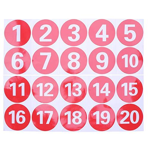 STOBOK Pegatinas numéricas redondas de PVC Pegatinas digitales rojas grandes 1-20 pegatinas para alinear números antiestáticos - 3,7 pulgadas / 9,5 cm