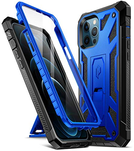 Poetic Spartan Series for iPhone 12 Pro Max 6.7 inch Case, Full-Body Rugged Dual-Layer Metallic Color Accent with Premium Leather Texture Shockproof Protective Cover with Kickstand, Metallic Blue