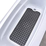 """SlipX Solutions Translucent Black Extra Long Bath Mat Adds Non-Slip Traction to Tubs & Showers - 30% Longer Than Standard Mats! (200 Suction Cups, 39"""" Long Bathtub Mat)"""