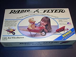 RADIO FLYER Little Red Wheelbarrow Model #4. Genuine hardwood handles. For ages 2 and up. Ideal kid's toy or adult decorating accessory. Seamless steel tray with no -scratch rolled edges. Bonus #400 Mini Wheelbarrow Included.