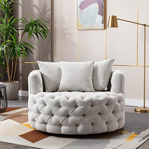 Toyfun Swivel Barrel Chair, Modern Swivel Accent Sofa Barrel Chair with 3 Pillow, Modern Linen Leisure Chair Round Accent Lounge Swivel Chair for Hotel Living Room