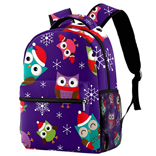 Owls with Christmas Hat Snowflake Pattern Backpack for Teens School Book Bags Travel Casual Daypack