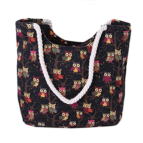 AiSi Canvas Strandtasche Schultertasche Umhängetasche Shopper Einkaufstasche, mit Reißverschluss, Eule Muster schwarz