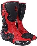 FGDFGDG Botas de Motocicleta de Carretera para Hombre, Botas de Cuero con protección de Armadura de Motocicleta, Botas de Cuero para Motocicleta,Rojo,42