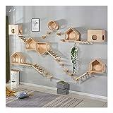 Árbol del gato de niveles múltiples, Torre de los Gatos Deluxe Juego del gatito Casa de pared sólida escalada del gato de madera moderno muebles Centro de Actividades Puente colgante de escalera