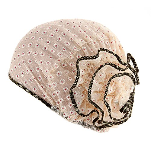 Lazzboy Frauen Muslim Stretch Turban Hut Chemo Cap Haarausfall Kopftuch Wrap Damen Cancer Blumen Muster Beanie Schal Head(Beige)