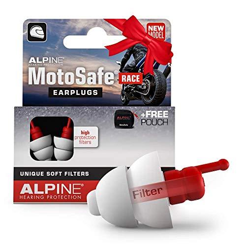 Alpine MotoSafe Race Bouchons d'oreilles protection auditive pour motocyclisme - Boules Quies pour la Course afin de réduire le bruit du vent - trafic audible - Hypoallergénique - réutilisable