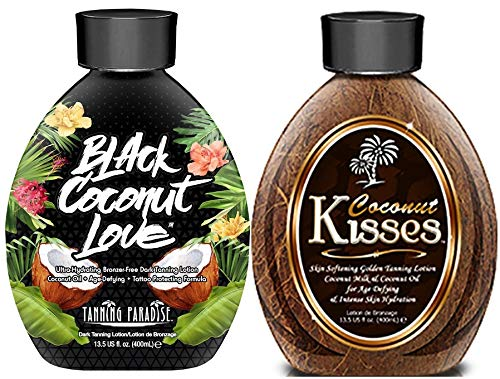 Ed Hardy Coconut Kisses Golden Tanning Lotion, 13.5 oz | BEST SELLERS | Tanning Paradise Black Coconut Love Tanning Lotion | Coconut Oil | Age-Defying | Tattoo Protecting Formula | Ultra Hydrating Dark Tanning Lotion, 13.5oz