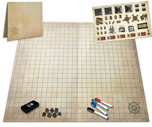 The Ultimate Battle Grid Game Board - 23x27 - Dry Erase Square & Hex RPG Miniatures Mat - Tabletop Role-Playing Dice Map - Portable Reusable Dragons Gaming Dungeon