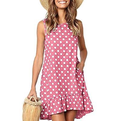 Womens Dresses Sleeveless Polka Dot Ruffle Casual Summer Beach Loose Short Tank Dress with Pockets (Pink, S)