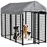 BestPet Large Dog Kennel Dog Crate Cage, Extra Large Welded Wire Pet Playpen with UV Protection Waterproof Cover and Roof Outdoor Heavy Duty Galvanized Metal Animal Pet Enclosure for Outside