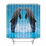 Jumping Dolphin Twins en Acuario, baño, Tela, Cortina de Ducha, Juegos de Cortinas de poliéster Impermeables y 12 Ganchos