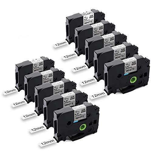 Anycolor kompatible Schriftband als Ersatz für Brother TZe-231 12mm schwarz auf weiß für Brother P-Touch 1000W 1010 1090 1830VP 2030VP 2100VP 2430PC 2730VP 7100 VP7600VP H100R H300 D200VP, 10er-Pack