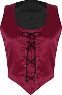 FEESHOW Vintage Womens Girls Medieval Bustier Corset Reversible Vest Gilet Lace Up Bodice Costume