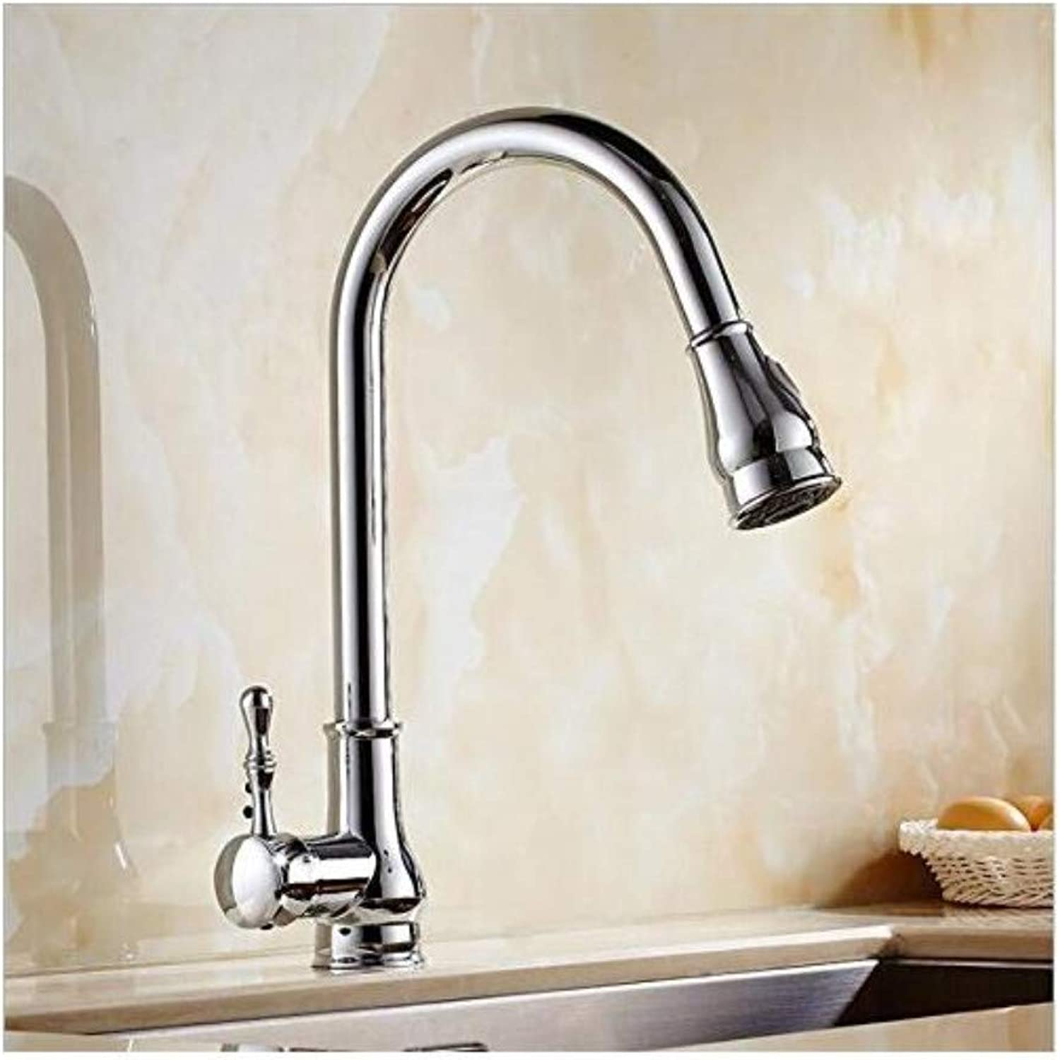 Luxury Plated Vintage Faucet Mixer Chrome Single Lever Brass Hot and Cold Pull Out Kitchen Sink Basin Mixer Tap Faucet
