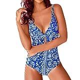Mujeres Verano sin Respaldo Sexy Imprimir Traje de baño Ropa de Playa Siamés Bikini Set Tankini Liquidación(Azul,XL)