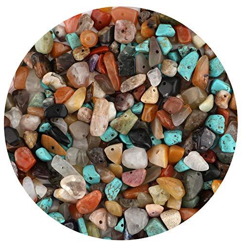 LUTER Cuentas de Piedra de Viruta Natural de Aproximadamente 500 Piezas Cuentas de Piedras Preciosas Irregulares Agujero Perforado para Joyería de Bricolaje Collar Pulsera Pendiente (Multicolor)