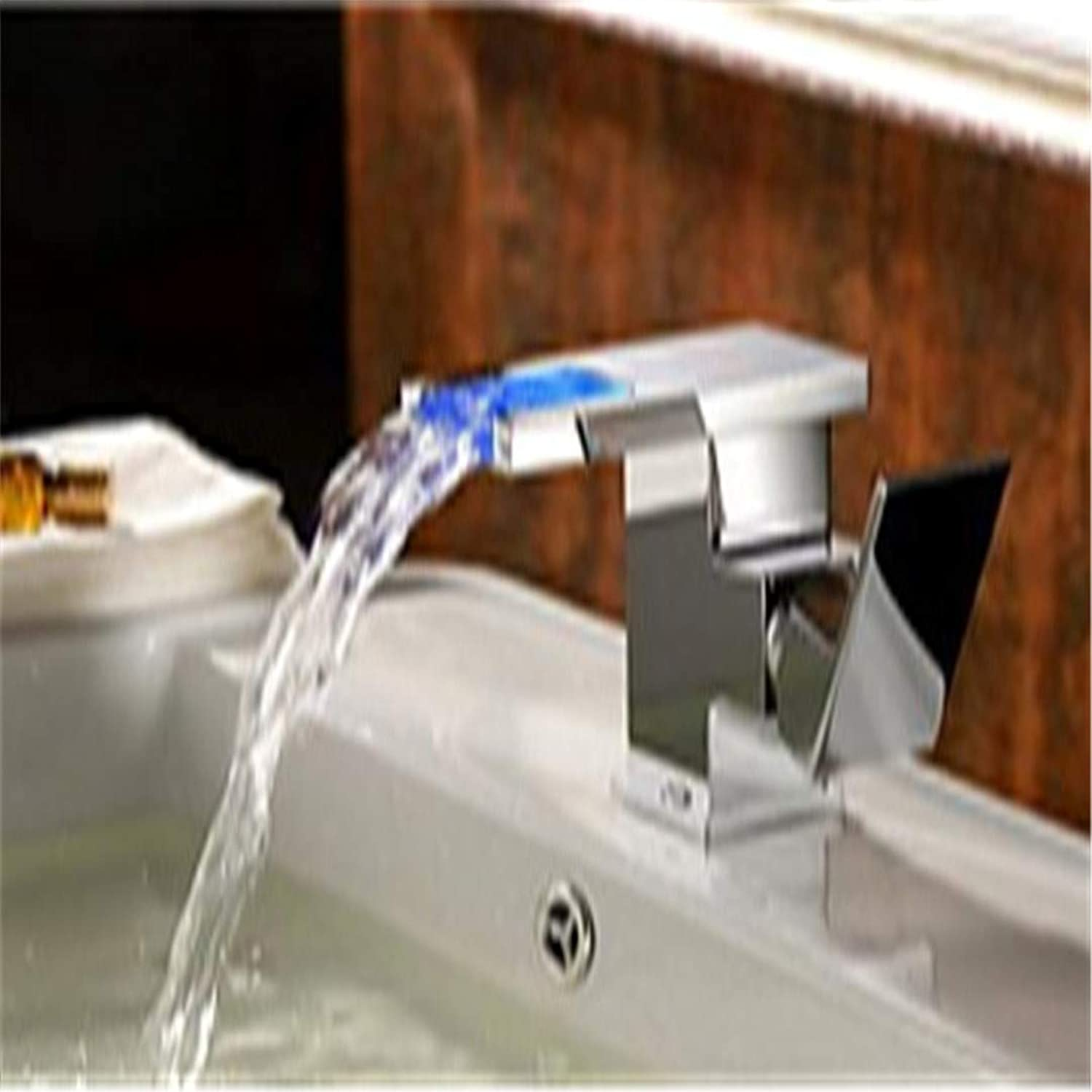 Basin Faucet color Changing Waterfall Bathroom Sink Faucet