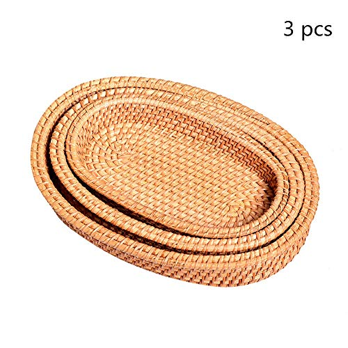 Rattan Fruit Basket Small Oval Tray Set Of 3 Rattan Fruit Display Storage Basket Hand Woven Bread Serving Woven Storage Basket (Color : Natural, Size : S+M+L)