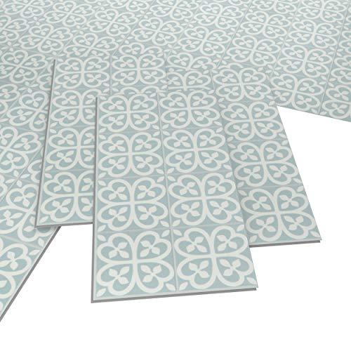 ARTENS - PVC Bodenbelag - Click Vinylboden- Zementfliesen Muster - Zartblau/Weiß - 1,49m²/8 Fliesen