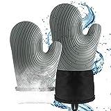 Ofenhandschuhe Hitzebestaendig,Silikon Rutschfestes Wasserdichtes Topfhandschuhe