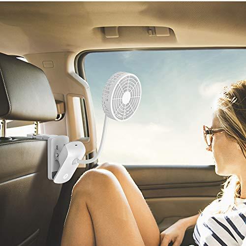 Ventilador del automóvil, EasyAcc Batería Ventilador del Clip del automóvil Ventilador de Asiento Trasero de 3 velocidades Ventilador de enfriamiento de Aire de 2600 mAh para Conductores Pasajeros