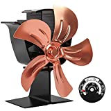 KINDEN Wood Burner Fan 5-Blade Heat Powered Stove Fan for Wood Log Ultra Quiet with Stove Thermometer (Aluminium Gold,Large Size) Patent Pending