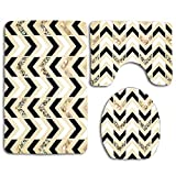 Black White & Gold Glitter Herringbone Chevron On Nude Cream Classical Traditional Artwork Bath Mat Bathroom Carpet Rug Washable Non-Slip 3 Piece Bathroom Mat Set