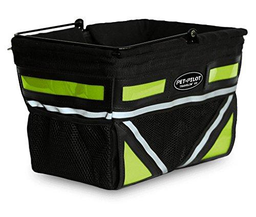 Travelin K9 Pet-Pilot Original Dog Bike Basket Carrier | 8 Color Options for Your Bicycle (Neon Green)