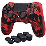 YoRHa Transferencia de agua camuflaje de impresión silicona caso piel Fundas protectores cubierta para Sony PS4/slim/Pro Mando x 1 (rojo) Con PRO los puños pulgar thumb gripsx 8